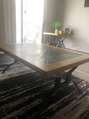 Sandton Table/ Solid Pine Wood, light Teak stain- Autumn/ Viola slate for Sale in Tampa, FL