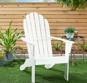 💯Maria💦Mainstays Wooden Outdoor Adirondack Chair, White Finish, Solid Hardwood for Sale in Sugar Land, TX