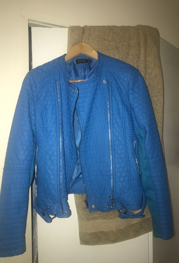 Blue size small Love Token leather jacket
