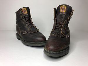 JUSTIN ORIGINAL MENS DARK BROWN LEATHER WESTERN/WORK BOOTS SZ 10.5 USA Made for Sale in Chino, CA
