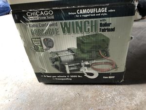 Camo Radio Controlled Portable Winch with Roller Fairlead - 3k lb Capacity for Sale in Orange, CA