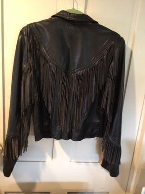 Ladies Black Leather Fringe Jacket for Sale in Swampscott, MA