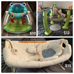 Baby Rocker, Swing, Seats, Bath Seat, Play Sets, Car seat Snuzzler, Sandals (5/6) for Sale in New Bern, NC