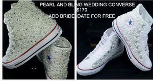 High top pearl bling wedding converse free wedding date added for Sale in Columbus, OH