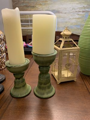 Green candle holders for Sale in Leander, TX