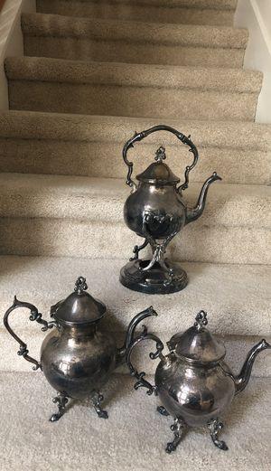 3 Silver Copper Tea Pots vintage for Sale in St. Cloud, FL
