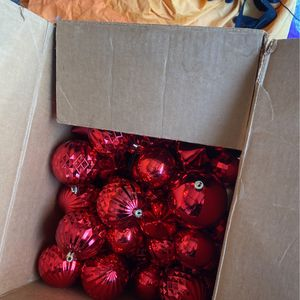 Box Of Vintage Red Ornaments for Sale in Huntington Station, NY
