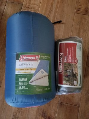Coleman sleeping bag and Thermarest camp mattress. for Sale in US
