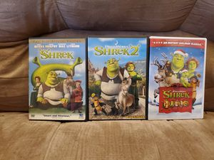 Lot of 3 Shrek 1 &2 and Shrek the Halls By:Dreamworks for Sale in Southaven, MS