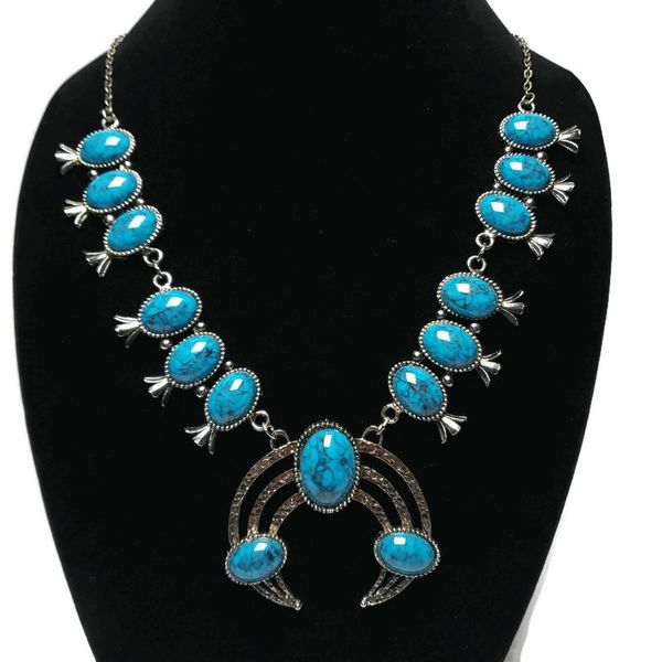 Womens statement faux turquoise in silver tone metal