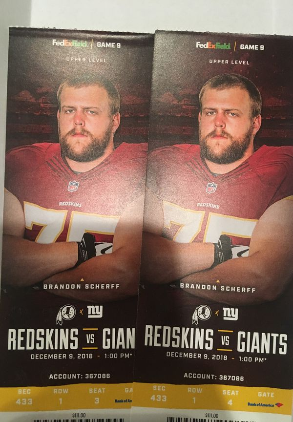 Redskins Vs. Giants Tickets @ 1 PM, December 9th. 90 for both