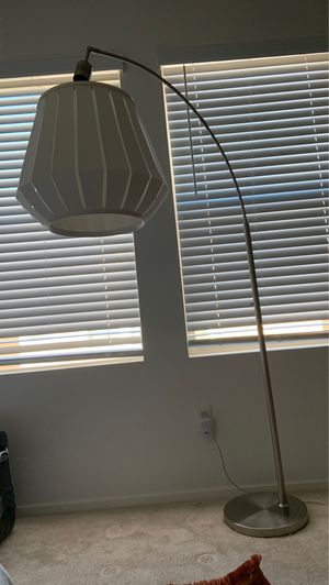 Floor lamp- cute white shade with silver stand for Sale in San Bernardino, CA