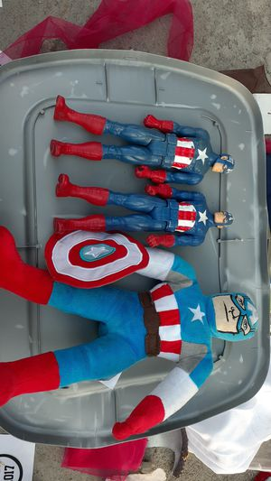 3 captain america's one is a stuffed captain america.ObO for Sale in Santa Ana, CA