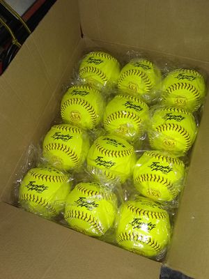 Case of one dozen 11in Dudley Thunder Heat Fastpitch Game Softballs for Sale in Houston, TX