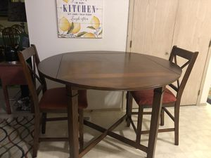 Dining Round/square with sides down all wood table and two chairs excellent used condition for Sale in Orting, WA