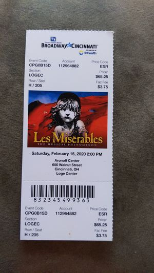 Les Miserables Ticket 02/15/2020 Aronoff Center for Sale in Cincinnati, OH