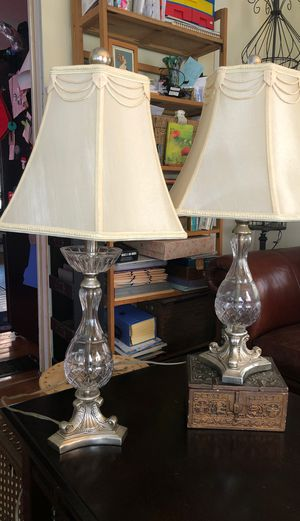 Two glass lamps with shades. , one finial missing for Sale in Hanson, MA