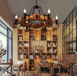🔥 NEW Industrial 6-Head Candle Chandelier Wood Iron Light Restaurant Ceiling Fixture for Sale in Miami, FL