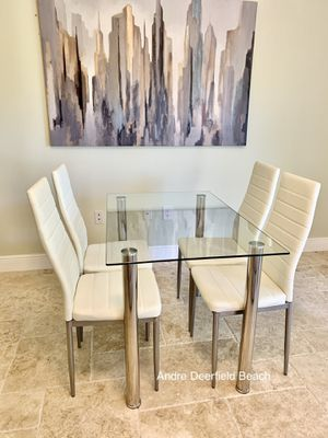 White Dining Table Set with Tempered Glass Top Table & 4 Chairs - Kitchen Furniture Set for Sale in Lighthouse Point, FL