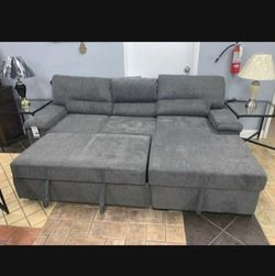 Yantis Gray Sleeper Sectional with Storage / couch /living room set. for Sale in Austin,  TX