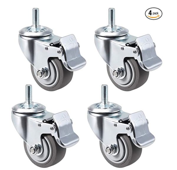 uxcell Swivel Caster Wheels TPR Caster 4 Inch Wheel M12 x 30mm Threaded Stem with Brake