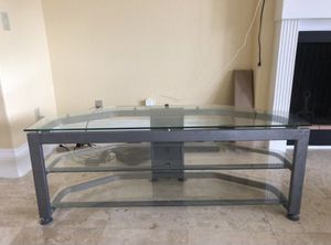 """Free delivery Best Buy glass and metal tv stand 48""""X 24"""" for Sale in South San Francisco, CA"""
