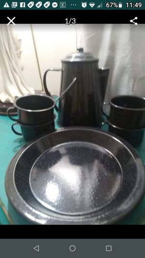 Camping Plates Cups and Coffee Pot for Sale in Smithville, TN