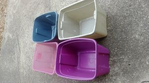 Free Four 18 Gallon Plastic Bin / Totes Without Lids for Sale in Greenville, SC