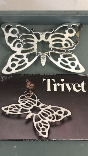Silver plated vintage butterfly trivet for Sale in Fresno, CA