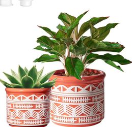 CeramicPlant Pots,GardenPlanters for Plants with Drainage Hole,Flower potsIndoor Outdoor,4.7in+5.9in,PARTNERO NordicModernWhite & Orange,Pack for Sale in Los Angeles,  CA