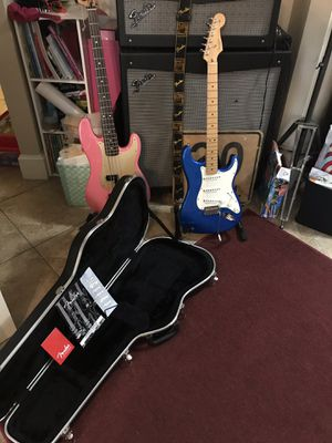 American Fender Stratocaster Guitar Chrome Blue w/ OHSC an paperwork for Sale in Houston, TX