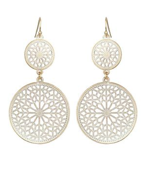 *NEW ARRIVAL* Bone White Filigree Gold Trim Double Disk Drop Earrings *See My Other 200 Items for Sale in Palm Beach Gardens, FL