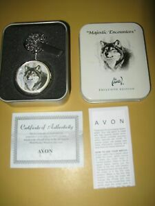 Avon Majestic Encounters Collectible Wolf Pocket Watch in Tin for Sale in Wichita, KS