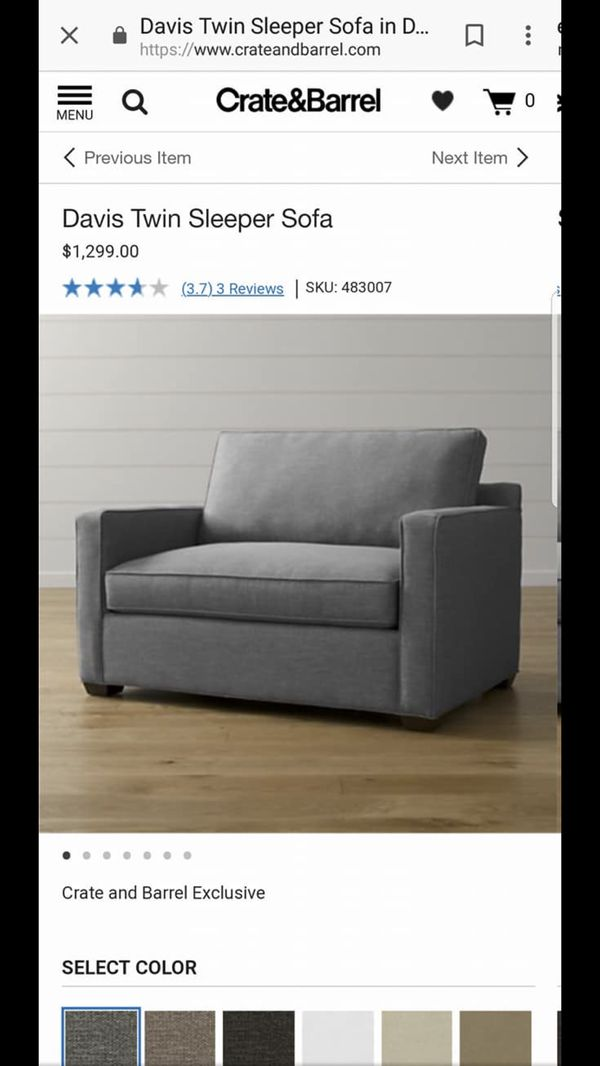 As New Crate Barrel Twin Sleeper Sofa For Sale In Chicago Il