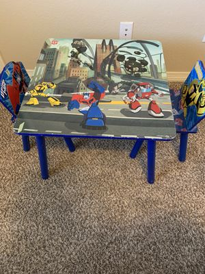 Kid Transformer table with 2 chairs for Sale in Mead, CO