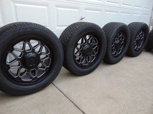20X9 Satin Black/Machined Rims & 285 50 20 Goodyear GTII Tires *6 LUG* for Sale in Aurora, CO