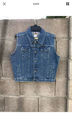 Harley Davidson Motorcycle Jean Jacket Vest Youth XL Embroidered Biker Denim.The jacket is in beautiful condition perfect for personal customization for Sale in Phoenix, AZ