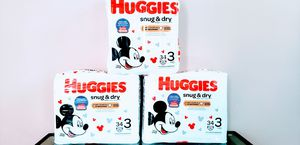(3) Huggies Snug & Dry Diapers Size 3 (Total 102 Counts) - $16 For All FIRM for Sale in Tustin, CA