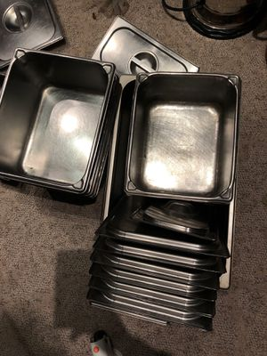 6 restaurant steam pans with lids for Sale in Indianapolis, IN