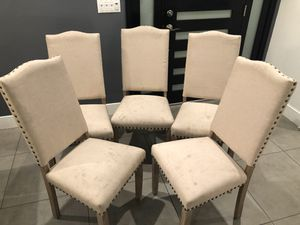 Beige and wooden cushioned Dining Chairs for Sale in Los Angeles, CA