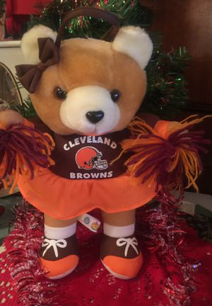 """Cleveland Browns cute 12 """" Teddy Bear stuffed animal Cheerleader New non smoke great Gift """" I ship for Sale in Northfield, OH"""