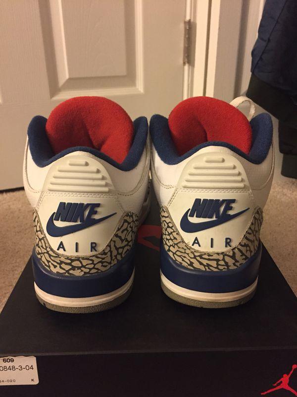 True blue Jordan 3. Size 8