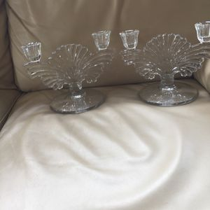 Vintage lead crystal etched glass double cab candlabra candle stick holder for Sale in Bel Air, MD