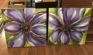 2 canvas paintings - purple flowers 26inches square for Sale in Silver Spring, MD