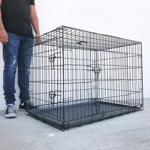 """New in box $55 Folding 42"""" Dog Cage 2-Door Pet Crate Kennel w/ Tray 42""""x27""""x30"""" for Sale in South El Monte, CA"""