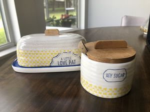 Butter & sugar container /storage / decorative for Sale in Port St. Lucie, FL