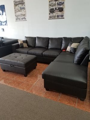Sectional Bonded Leather w/ Ottoman Living Room [Only $50 Down] [90 Days to Pay Cash Price & No Interest] for Sale in Irving, TX