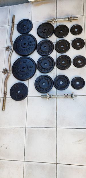 Weights, dumbbell, ez curl bar for Sale in Huntington Beach, CA