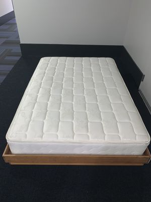 Great condition full size mattress and customized wood bed frame! for Sale in San Diego, CA