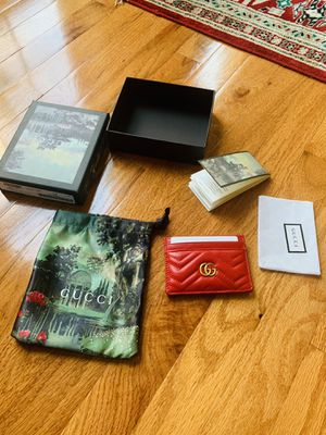Gucci Signature Red GG Marmont Leather Card Case Card Holder w/Box for Sale in Columbia, MD